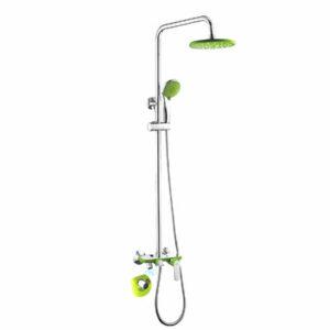 2433 Душевая система Frap с повор. изливом,верхним душем и ручной лейкой, зеленый/хром