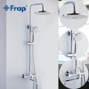 2441 Душевая система Frap с поворотным изливом, верхним душем и ручной лейкой БЕЛЫЙ/ХРОМ