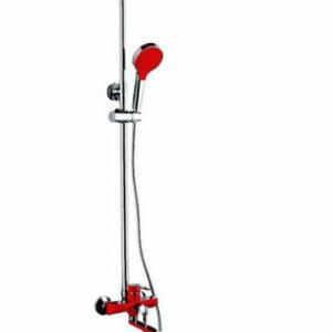 2443 Душевая система Frap с поворотным изливом, верхним душем и ручной лейкой (красный/хром)