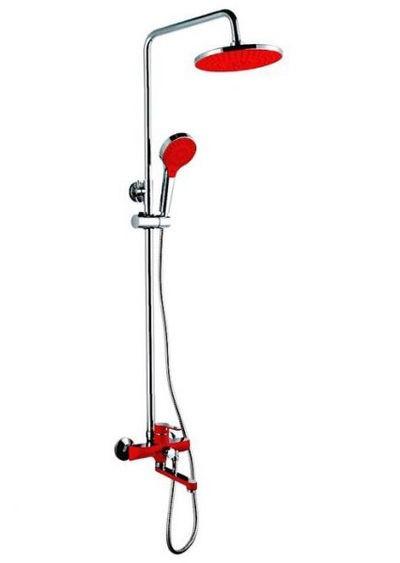 2443 Душевая система Frap с поворотным изливом, верхним душем и ручной лейкой (красный/хром) - 1