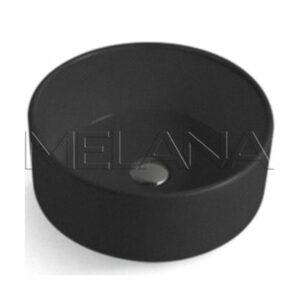 800-7078АВ Фигурный умывальник круглый (черный) 410х155 MELANA