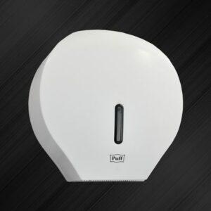 Диспенсер для туалетной бумаги Puff-7120 с замком, пластик, БЕЛЫЙ, диам. втулки 43мм