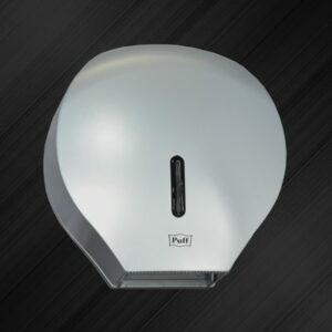 Диспенсер для туалетной бумаги Puff-7120S с замком, пластик, ХРОМ/матовый, диам. втулки 43мм
