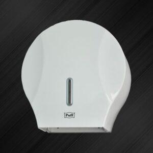 Диспенсер для туалетной бумаги Puff-7125 с замком, пластик, БЕЛЫЙ, диам. втулки 43мм