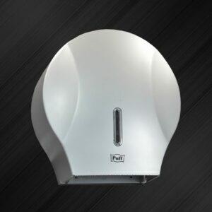 Диспенсер для туалетной бумаги Puff-7125S с замком, пластик, ХРОМ/глянец, диам. втулки 43мм