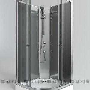 Душ. кабина ARCUS AS-100 90*90*200 низ.под.,зад.стенки бел.,стекла мат.,проф.хром, без крыши 3 к.