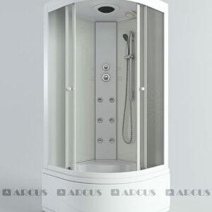 Душ. кабина АRCUS AS-108 80*80*215, выс. под. зад.стенки бел., стекла мат., проф. бел. 4к