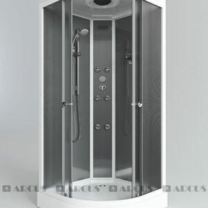 Душ. кабина АRCUS AS-112 80*80*215 низ. под., зад. стенки мат 'серебро',стекла мат., проф,бел 5 к