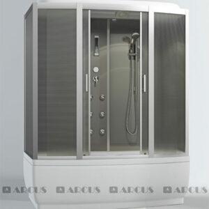 Душ. кабина АRCUS AS-125 150*85*220 выс.под,зад.стен сереб.,стекла матов., проф. сареб.,упр. эл 5к