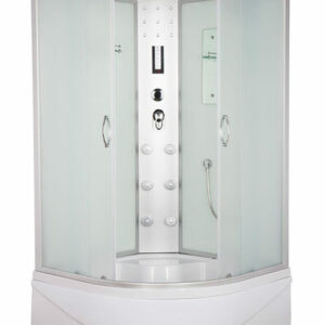 Душ. кабина ER4510TP-C3 RUS 100*100*215см,зад.стенка бел.стекло выс. под.мат.ст.пр.хром. 3к.