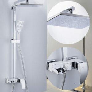 G2407-30 Душевая система GAPPO с верхним душем, смесителем и ручной лейкой (белый/хром)
