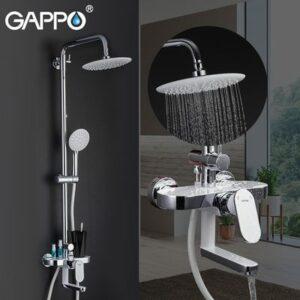 G2419 Душевая система GAPPO с верхним душем, смесителем и ручной лейкой,,хром