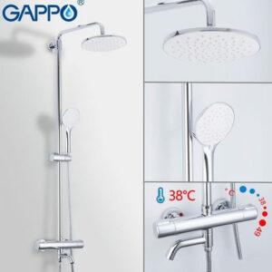 G2490 Душевая система GAPPO с верхним душем, термостатом и ручной лейкой (хром)