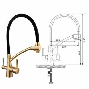 G4398-1 Cмеситель Кухня GAPPO d-35 с подключением фильтра питьевой воды (бронза/черный )