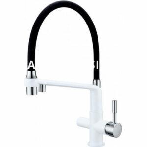 G4398-9 Cмеситель Кухня GAPPO d-35 c подключением фильтра питевой воды (белый корпус, черн излив)