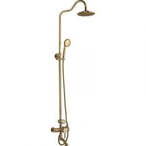 К19018 Смеситель Ванна GERHANS с душевой стойкой, тропическим душем (бронзовый)