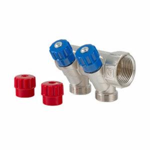 Коллектор 3/4 2 выхода с регулировочными вентилями 1/2 ш VALTEС (VTс.560.N.0502)