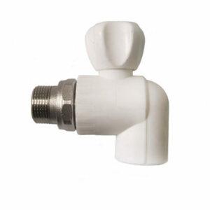 Кран п/радиатор с американкой 20-1/2 PP-R штуцер угловой Rosturplast