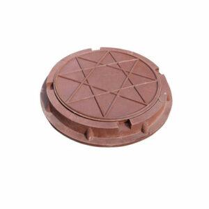 Люк канализационный круглый малый полимерный (d 460 h 50мм) красный