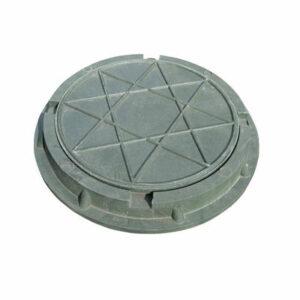 Люк канализационный круглый малый полимерный (d 460 h 50мм) зеленый