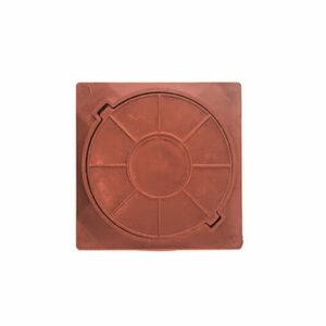 Люк канализационный квадратный полимерный легкий смотровой (450х450х40мм) красный