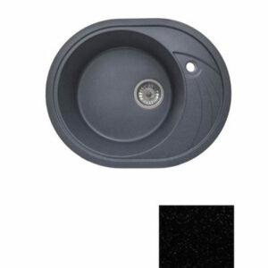 Мойка GRANICOM G-020 (570*465мм), 1 чаша+ крыло овал (антрацит-черный)