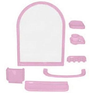 Набор д/ван ком с зерк арка розовый