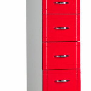 Пенал 'Мальта-30' 1 дверь,2 ящика, 1 откидн. с бельев.корзиной, красный левый ПМ30БККЛ 300х1920х338