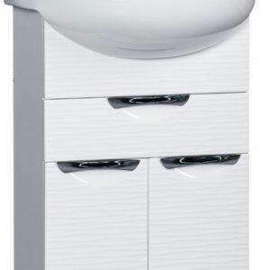 Подстолье 'Джульетта-55' 3D Волна 1 ящик, 2двери (белый) под ум.Эрика- 55 487х800х302