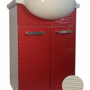 Подстолье 'FIESTA-55' волна 3D 2 двери под умыв. 'Nati-55' (белый мет.) 508*800*299