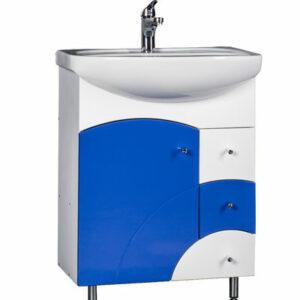 Подстолье 'Макарена-65' (синий) 1 дверь, 3 ящика под умывальник 'Стелла-65' 610х800х331