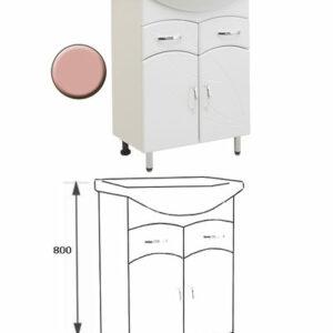 Подстолье 'Весна 60' (розовый) 2 ящика 2 двери под умыв. 'Эрика-61' 577х800х283