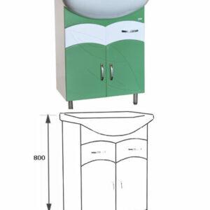 Подстолье 'Весна 60' (салатовый) 2 ящика2 двери под умыв. 'БАЙКАЛ-60' 555х800х316