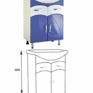 Подстолье 'Весна 60' (синий) 2 ящика2 двери под умыв. 'БАЙКАЛ-60' 555х800х316