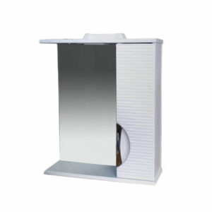 Зеркало-шкаф 'Джульетта-60' 3D Волна (белый) правый 600х650х150