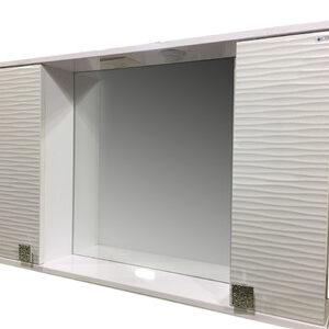 Зеркало + шкаф 'FIESTA-100' волна 3D (белый мет.) 1000*650*165