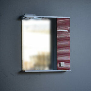 Зеркало + шкаф 'FIESTA-55' волна 3D правый (гранат мет.) 550*650*150