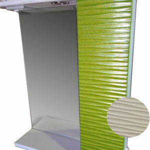 Зеркало + шкаф 'FIESTA-60' волна 3D правый (белый мет.) 600*650*150