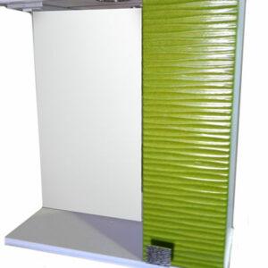 Зеркало + шкаф 'FIESTA-60' волна 3D правый (олива мет.) 600*650*150