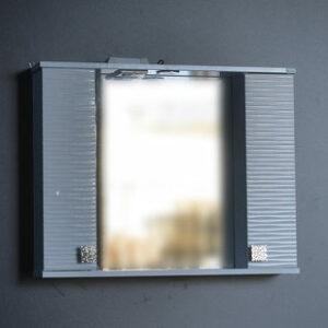 Зеркало + шкаф 'FIESTA-80' волна 3D (белый мет.) 800*650*150