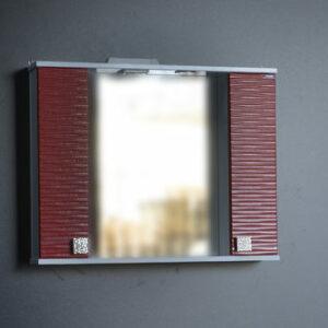 Зеркало + шкаф 'FIESTA-80' волна 3D (гранат мет.) 800*650*150
