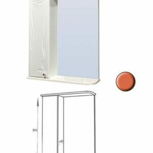 Зеркало-шкаф 'Глория 60' левый (апельсин) 625*705*180