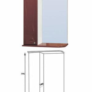 Зеркало-шкаф 'Глория 60' левый (вишня) 625*705*180