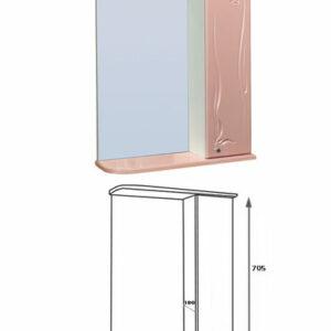 Зеркало-шкаф 'Глория 60' правый (розовый) 625*705*180